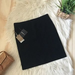 F21 - Black Ribbed Mini Skirt